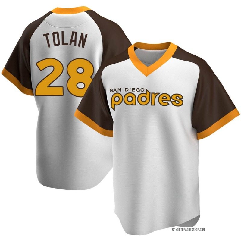 Youth Bobby Tolan San Diego Padres Replica White Home Cooperstown Collection Jersey