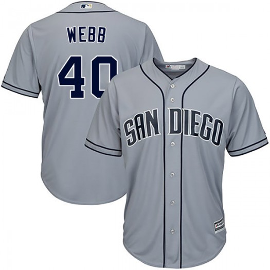 Youth Majestic Tyler Webb San Diego Padres Player Replica Gray Cool Base Road Jersey