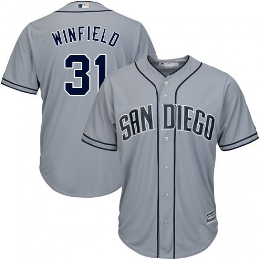 Men's Majestic Dave Winfield San Diego Padres Player Replica Grey Road Cool Base Jersey